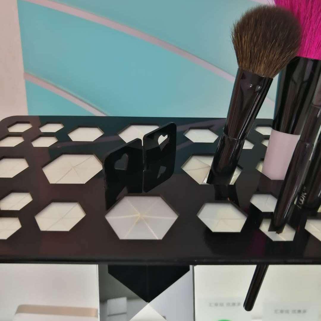 厂家批发定制亚克力化妆刷支架方形圆孔多造型多颜色粤丰