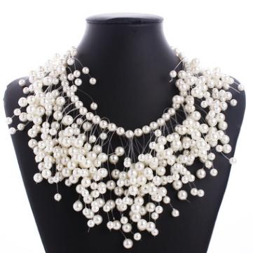 **歐美時尚流行飾品個性造型奢華多層珍珠流甦項鏈