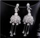 歐美潮流飾品S925純銀針風鈴微瓖鋯石耳釘耳環流甦珍珠新娘晚宴