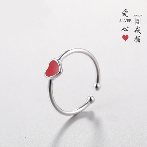 供应 s925纯银饰品女韩国风百搭小红心爱心戒指
