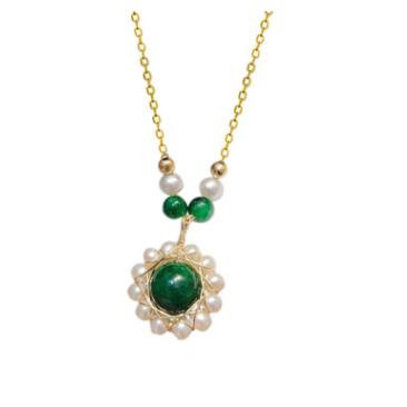 歐美進口包14K金編織淡水珍珠繞線翡翠太陽花吊墜項鏈 跨境飾品