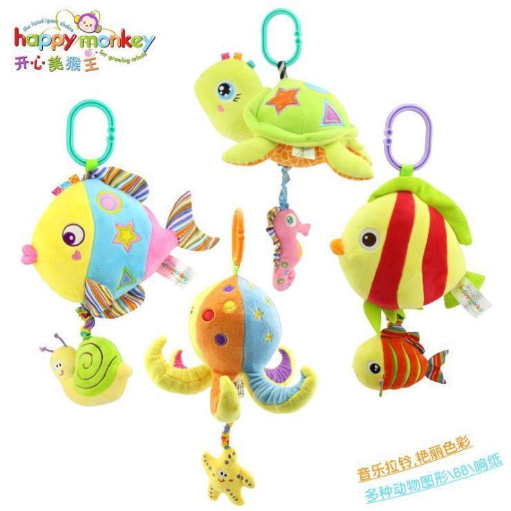 供应 HappyMonkey宝宝音乐拉铃海洋动物车挂床挂件毛绒婴儿玩具定制