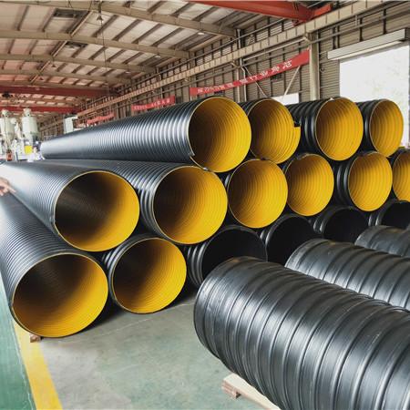 厂家直销大口径黑色排水排污市政用hdpe钢带波纹管