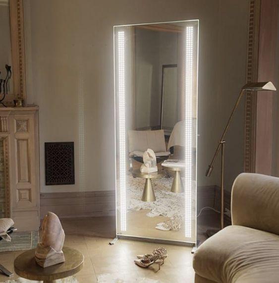 全身镜 led发光落地镜 发光镜 大镜子 落地镜子 全身镜 穿衣镜 壁挂粘贴简约无框镜试衣镜