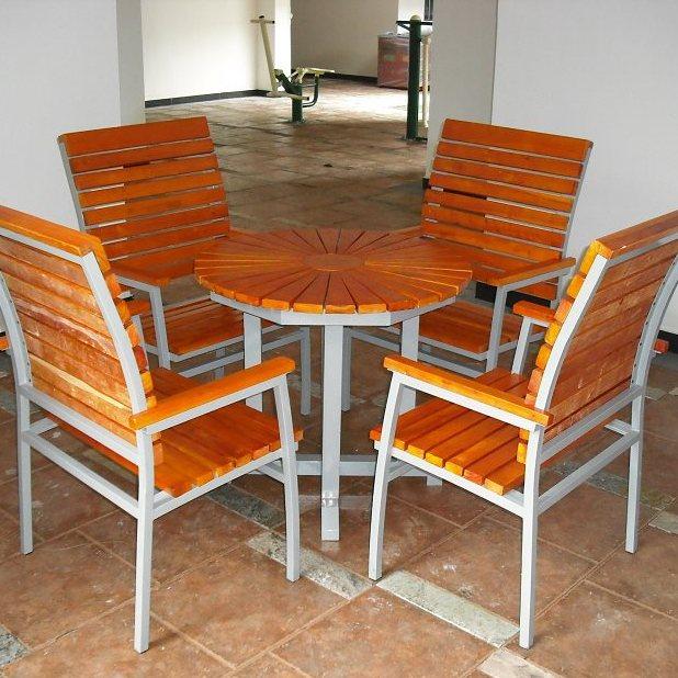 大连欧式铸铝套桌椅 花园庭院餐桌椅 菠萝格方桌五件套组合