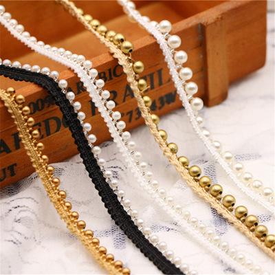 供应 发饰衣边领衣 涤纶织带珍珠手工钉珠单排花边 串珠条码服装辅料