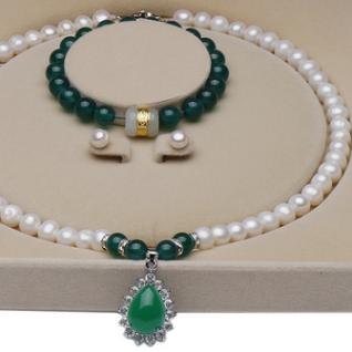 三件套 微瑕9-10mm强光米白色淡水珍珠项链 送妈妈婆婆礼物