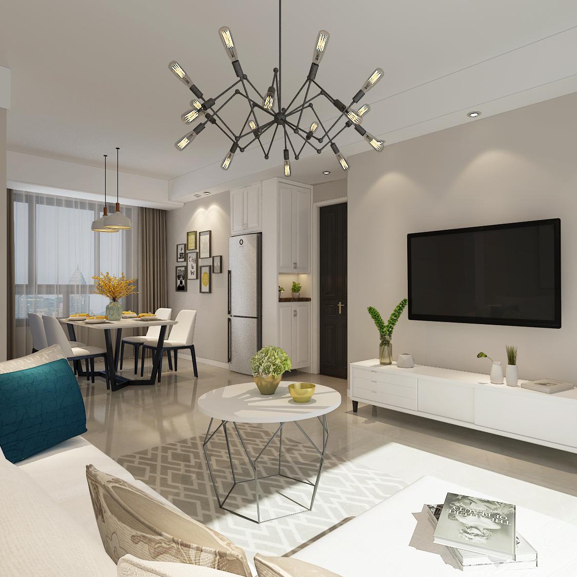 合肥山水装饰集团设计作品信达天御100平方三室居现代风格设计方案报价效果图分享