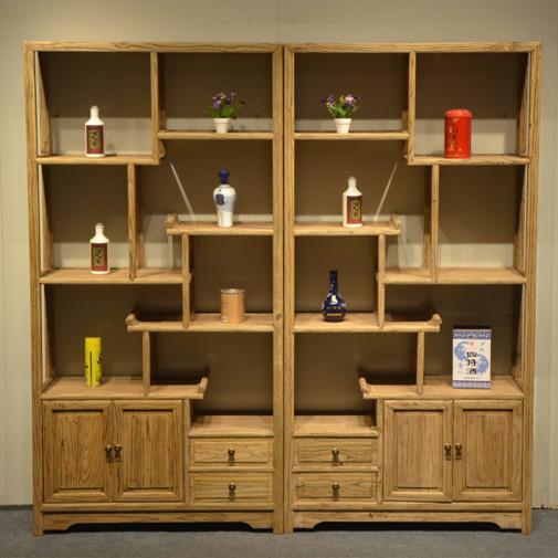 簡約老榆木博古架中式展示架多寶閣客廳實木創意多層置物古董架