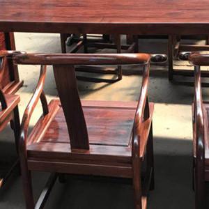 血檀画案 红木书案 非洲小叶子紫檀茶桌 红木椅子 红木家具