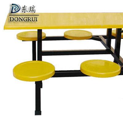 学生员工食堂餐桌 小吃店四人六人不锈钢玻璃钢连体快餐桌 椅组合