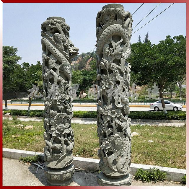 花鸟柱蝙蝠柱人物柱各种造型石雕景观柱加工定做