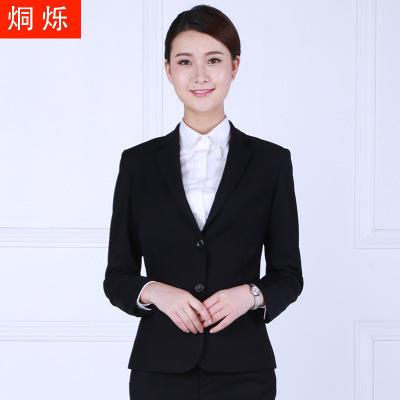 供应 2018春秋新款女西服纯色长袖韩版小西装外套黑色修身职业工作服