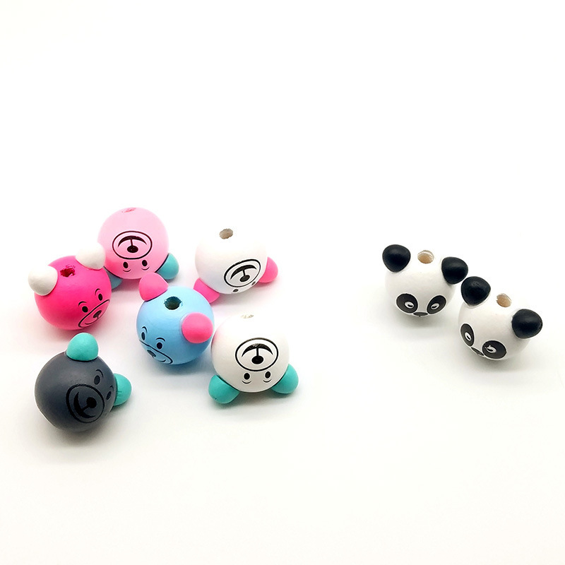 供应 新款可爱立体小熊头 熊猫木珠