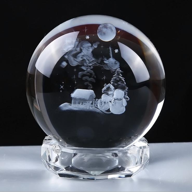 供应 k9水晶球内雕 纪念品平安夜 圣诞节礼物 专业定做