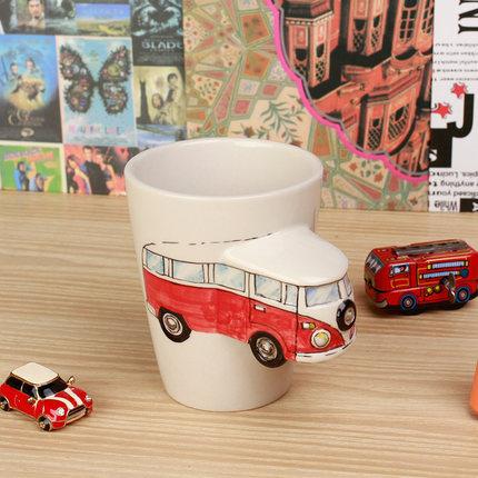 供应 3D儿童水杯创意杯子玩具机车陶瓷