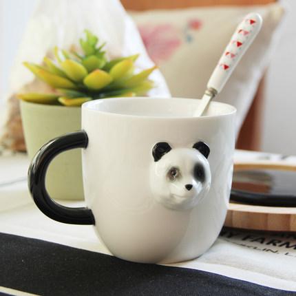 供应 创意3d立体动物陶瓷马克杯带盖