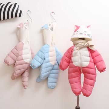 【小卡鸭】婴儿连体衣2018秋冬装新款 宝宝爬服婴幼儿服饰棉服s
