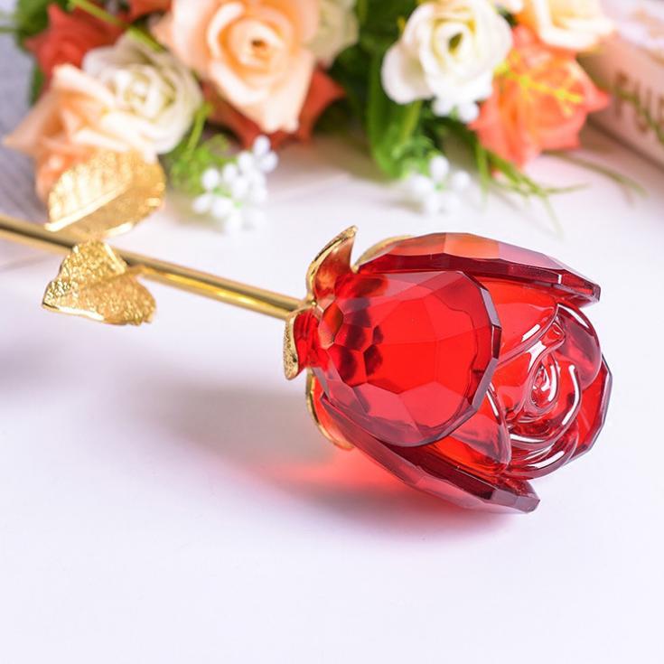 供应 定制水晶玫瑰花 创意水晶摆件 送女友礼物玫瑰 厂家直销