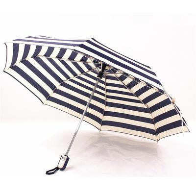 全自动海军条纹晴雨伞 防紫外线三折叠清新遮阳学生伞