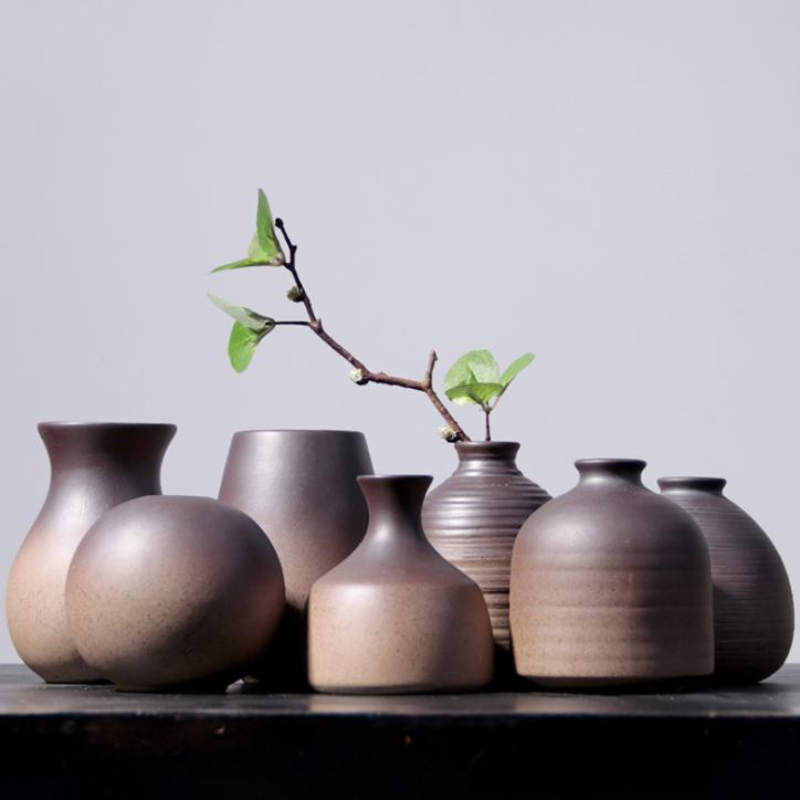 供应 小花器陶瓷日式粗陶手工个性客厅创意摆件家居装饰品水培花插花瓶 套装