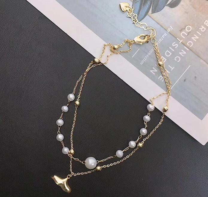 14K注金款海豚小清新手链脚链 双层满天星3-5mm淡水珍珠 礼盒包装